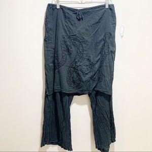 KARMA HIGHWAY Skirted Drawstring Embroidered Pants